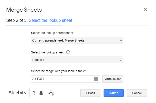 Select the sheet with the values to pull.