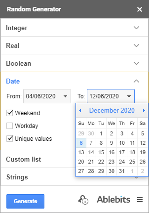 Generate dates in Google Sheets at random.