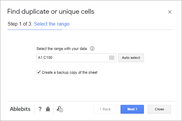 Pick the range to look for duplicate cells in.