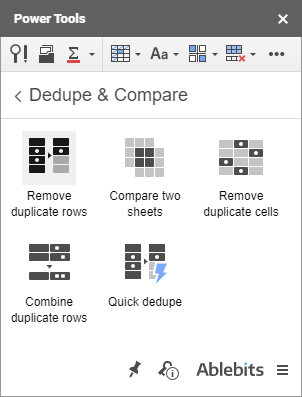 The Remove Duplicates icon in Power Tools.