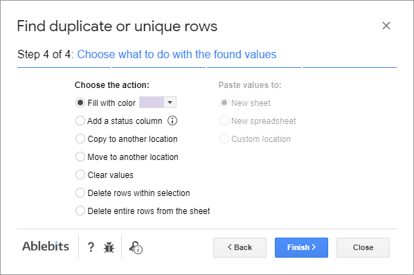 Color, copy, or remove duplicates from your sheet.