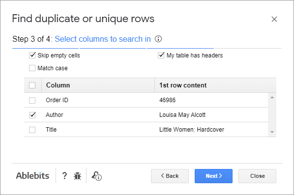 Choose columns you want to search in.
