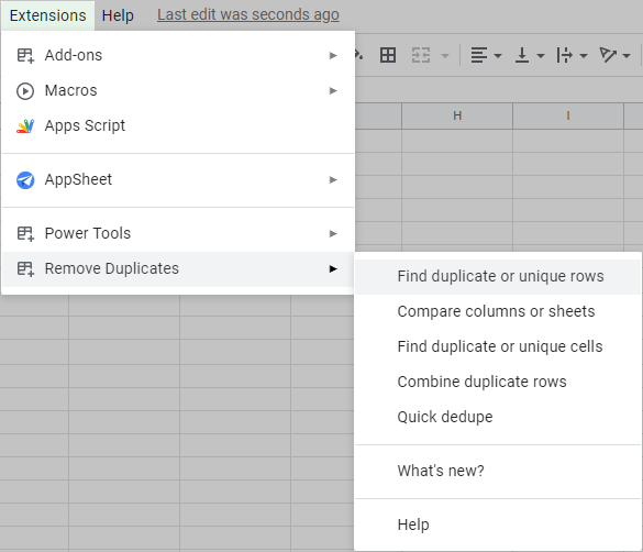 Find Remove Duplicates in the Google Sheets menu.