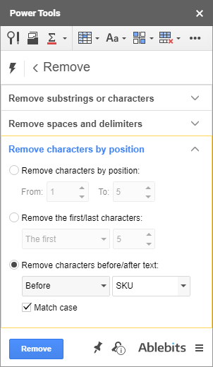 Get rid of characters based on their position in cells.