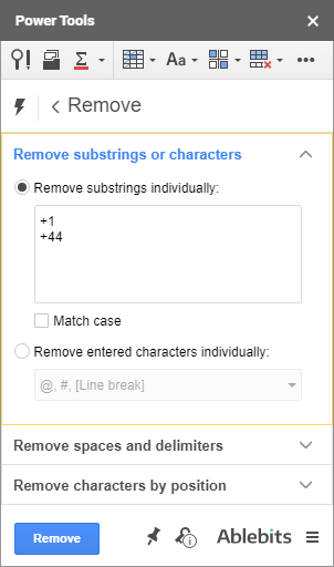 Remove extra spaces and characters in Google Sheets
