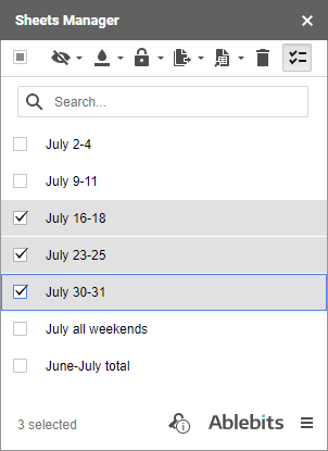 Select all sheets that you want to handle.
