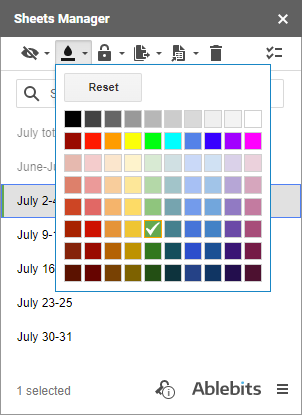 Color code Google sheets.