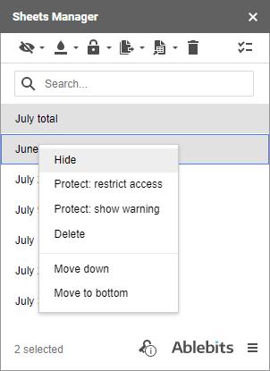 Hide sheets via the context menu.