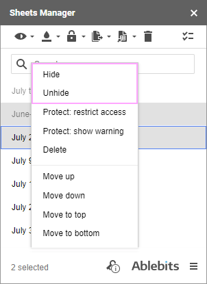 Hide and Unhide options in the context menu.