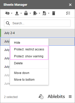Protect Google sheets and limit the editing from the context menu of the tool.