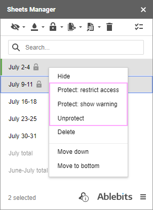 Change protection or unlock the sheets from the context menu.