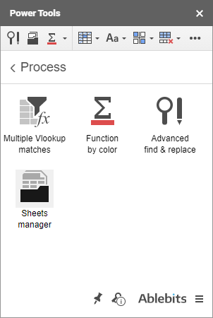 Sheets Manager icon in the Process group.