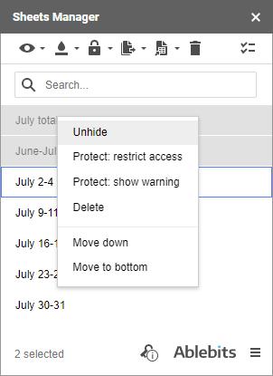 Unhide sheets via the context menu.