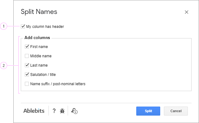 How would you like to separate names?