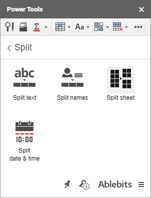 Split Sheet icon in Power Tools.