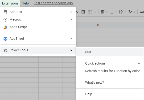 Start Power Tools in Google Sheets.
