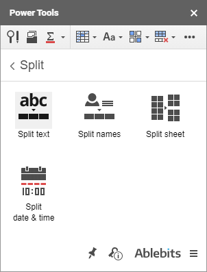 Click the corresponding icon to start splitting tools.