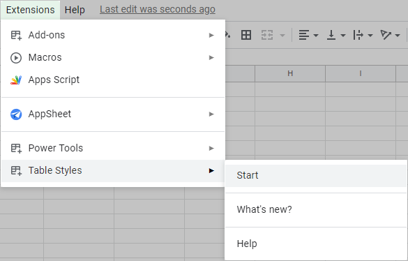 Start Table Styles in Google Sheets.