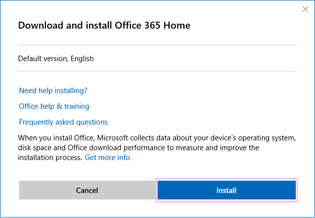 Download and install Office 365 Home.