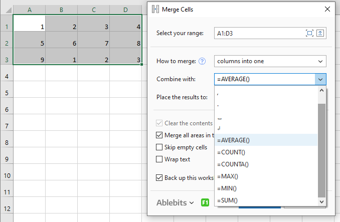 Fine-tune the options to merge data as needed.