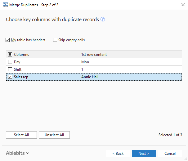 Excel: Combine duplicate rows into one record