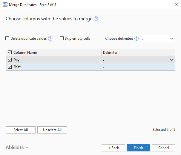 Pick columns with the values to merge with the Merge Duplicates tool.