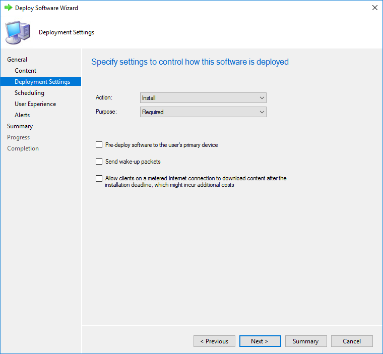 Specify the settings of the deployment