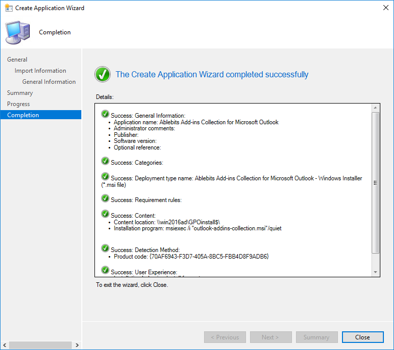 The Create Application Wizard completion
