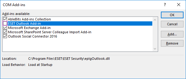 Uncheck ESET Outlook Add-in.