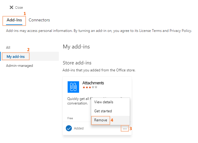 Remove add-ins from Outlook online.