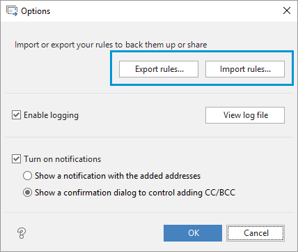 Export and import your Auto BCC rules.