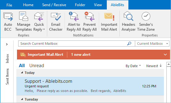 See the Important Mail Alert pane on the Outlook Reading Pane.