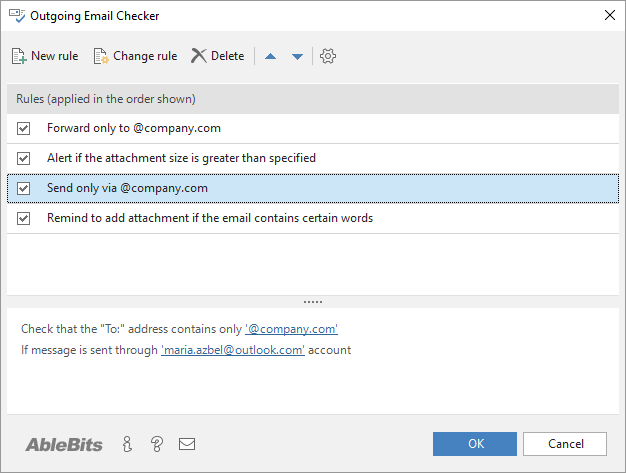 The Outgoing Email Checker window in Outlook.