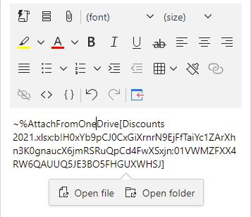 Open file or open folder from OneDrive.