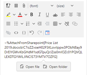 Open file or open folder from SharePoint.