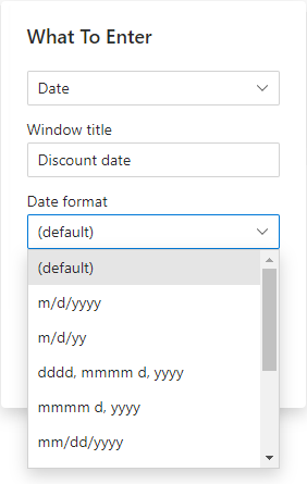 Choose the date format.