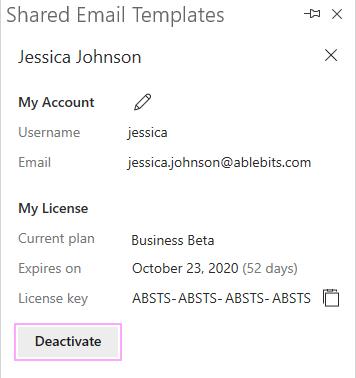 Click the Deactivate button.