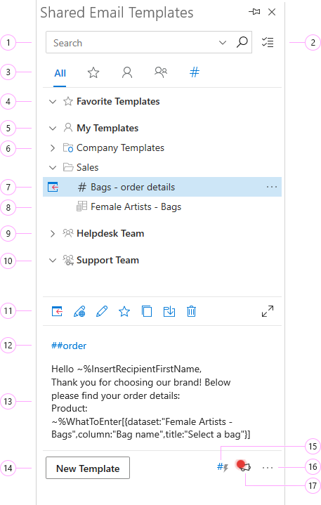Shared Email Templates in Outlook.