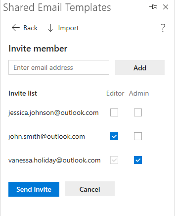 Emails and permissions are added.