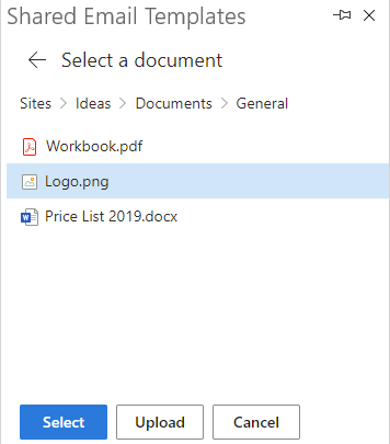 Select a picture to insert from SharePoint.