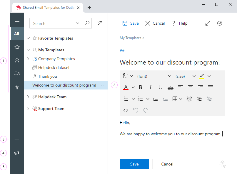 Shared Email Templates in browser.