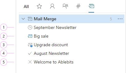 Different mail merge campaigns.