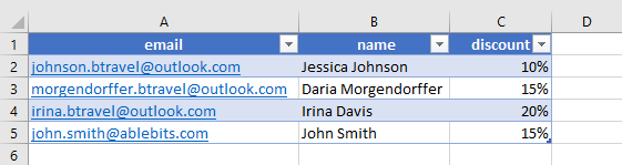 Mailing list sample.
