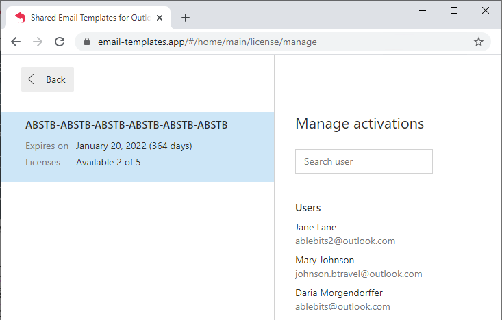Manage activations.