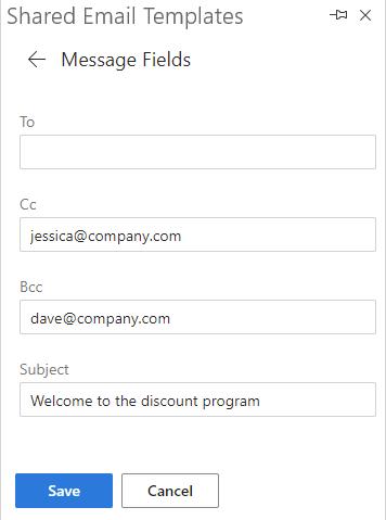 Fill in message fields.