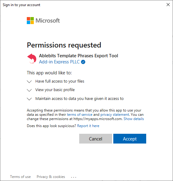 Export: requested permissions.