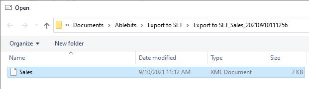 Select the XML file.