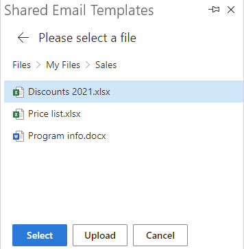 Attach file from OneDrive.
