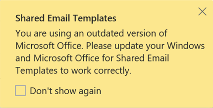 Outdated version of Microsoft Office error.