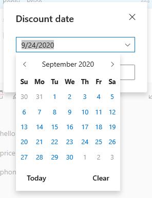 Pick Date in a drop-down calendar.